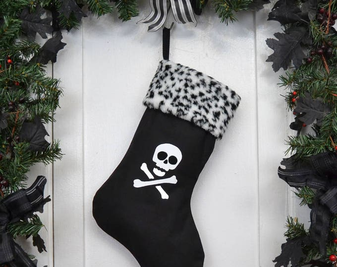 Punk Goth Pirate Christmas Stocking Skull and Crossbones, Black and White Leopard Faux Fur, Black Canvas Liner
