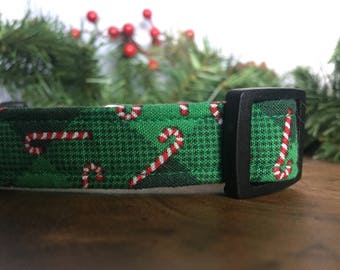 Christmas Dog Collar with Candy Canes - Candy Cane Dog Collar Green - Xmas Dog Collars for Christmas Pet Collar - Christmas Dog Collar Soft