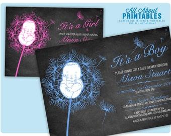 Boy Baby Shower Chalkboard Flower Invitation. Boy Baby Shower Chalkboard Floral Invite. Blue Baby Shower Invitation. DIY Printable Digital