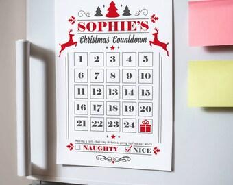 Personalised Magnetic Advent Calendar Countdown Sale