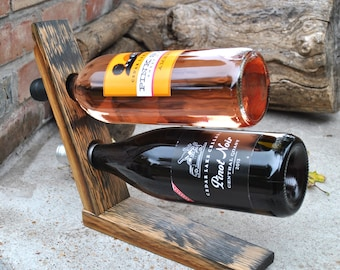 Wine Rack made from Whiskey Barrel Stave, Handmade Wine Rack, Gifts for Wine Lovers, Bar, Gifts for Cooks
