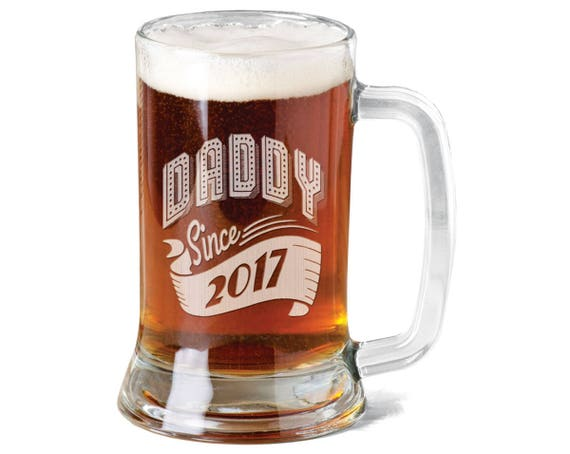 Favorite New Dad Gift Daddy Since 2017 Beer Mug 16 Oz Engraved Beer XP41