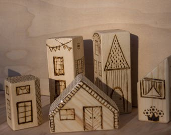 Town/village set of 5 houses, wooden blocks, ready to ship