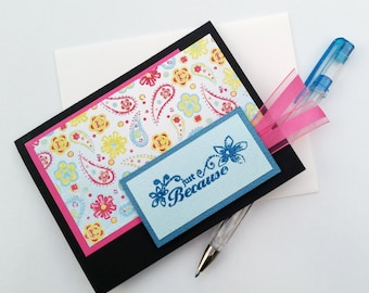 Just Because Card - Any Occasion Greeting Card - Fun Chalkboard Card - Thinking of You Card - Pen Pal Greeting Card - Handmade Cards