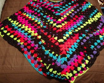 Neon and Black poncho