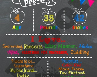 First Day of School Stat Chalkboard / Preschool / Kindergarten / Back to School / 1st day of school