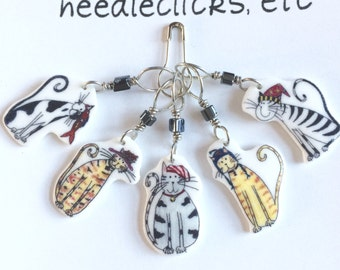 cats in hats stitch markers, whimsical knitting accessory, fun gift for knitters