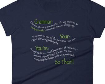 Womens Grammar T Shirt, Funny Grammar Tee, Grammar Gift, Grammar Police T Shirt, Teacher Gift, English Major Gift, Funny Grammar TShirt
