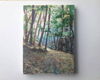 original acrylic painting, woodland, forest painting, small painting, wanderlust painting, tree painting, acrylics on canvas, free shipping