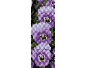 Purple Pansies Peyote Bead Pattern, Bracelet Cuff, Bookmark, Seed Beading Pattern Miyuki Delica Size 11 Beads - PDF Instant Download