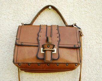 Vintage Brown Shoulder Bag Genuine Leather  Small Satchel Bag  Swedish Handbag Vintage Scandinavian Handbag