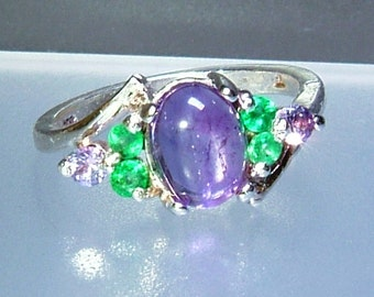 Cabochon Amethyst Emerald Purple Sapphire Ring Sterling Silver 1.94cttw Gemstone Ring Size 7