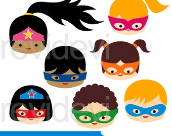 Superhero clipart sale - Superhero head kids clipart digital - superheroes boys girls close up face clip art