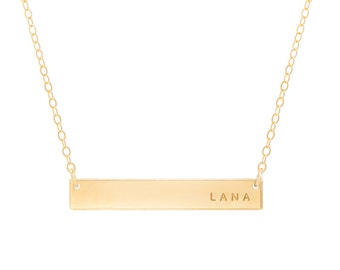 The Lana Bar Necklace / Personalized Gold Bar Necklace / Mother's Day Jewelry / Gold Bar Necklace / Gold Nameplate Necklace