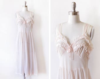 pale pink nightgown, vintage 60 negligee, nylon chiffon ruffled 1960s peignoir lingerie, small s - sold as is