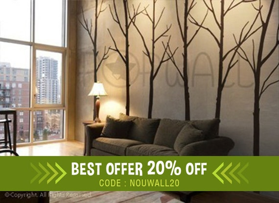 Wall Decal Winter Tree Wall Decal, Living Room, Bedroom Wall Decals Wall  Sticker Art, Wall Design   036