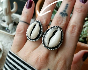Size 7 Cowrie Shell Ring, sterling silver, oxidized, bezel set, bohemian, hippie, goddess, handmade, ready to ship