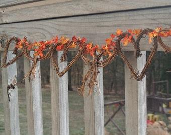 Fall  Wedding Garland, Vine Yard Wedding Decor, Hen Party  Leaves Garland,  Bridal Shower Decor, Country Cabin