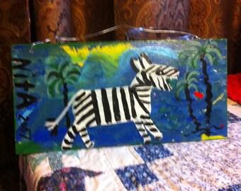 Zebra folk art painting