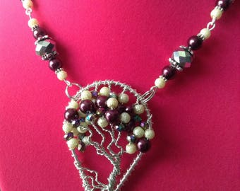 Tree of Life Pendant with matching chain with off white, burgundy and multi-coloured beads