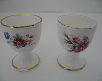Vintage Harleigh Fine Bone China Egg Cups From England, Assortment of Two