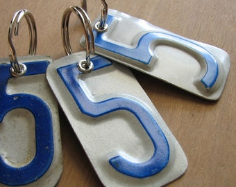 Number Five License Tag Keychain
