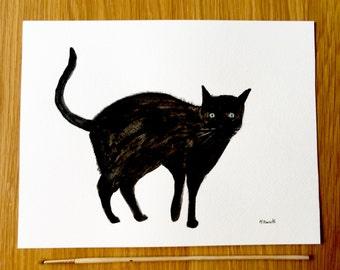 Black cat art painting original cat art watercolour pet art cat illustration cat wall art pet portrait 12 x 9 inches one of a kind
