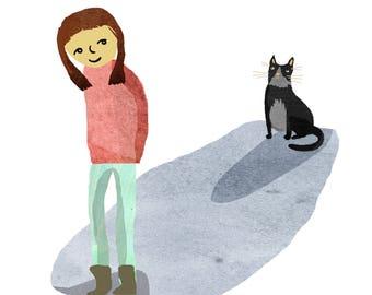 A4 illustrated cat print,cat stalker,cat art,pet portraits,gift for cat owner,gift for cat lover,cat print,gift for cat owner,cat gift idea