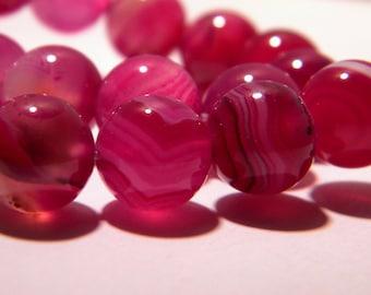 5 beads natural gemstones - purple - 10 mm gemstones agate natural stone - polished bead - K36