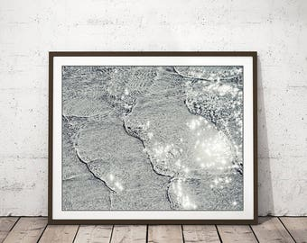 "Black And White Photography, Ocean Beach Waves Print, Water Sparkle, Minimal Gray Wall Art ""Silver Shore"""