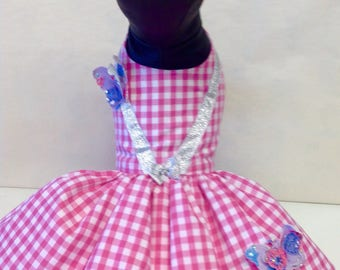 Precious pup pink check butterfly dress