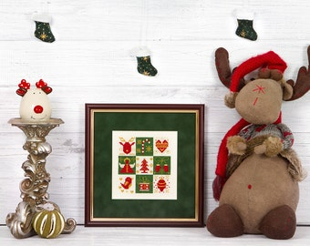 Christmas sampler cross stitch pattern PDF instant download Modern Winter Gift Holiday Xmas Ornament Colorful Happy Merry Cute Printable Art