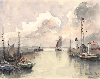 1966 watercolor of Honfleur (Normandy, France) 18 x 14 cm - 7 x 5.5  inches