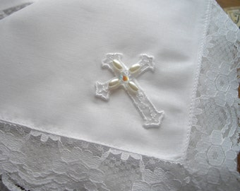 Irish Lace Handkerchief Edged With Floral Lace White Gift Boxed Wedding Christening Czech Bead Embellished Religious Cross HandcraftUSA