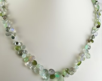Shades of Green Mixed Briolette Necklace by KarenWhalenDesigns