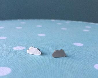 Silver Cloud Stud Earrings; Handmade, sterling silver