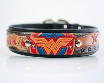 Hand Tooled Wonder Woman Dog Collar, Tooled Leather Collar, Personalized Pet Collar, Embossed Leather Jewelry, Super Hero Dog