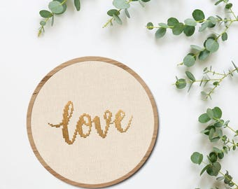 Love Cursive Cross Stitch Pattern, Love Modern Simple Cute Giftable Quote Counted Cross Stitch Pattern PDF Instant Download