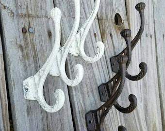 wall hook, coat hook, towel hook, cast iron wall hook, entry hooks, industrial hooks, bathroom hook, vintage hook, dual hook, victorian hook