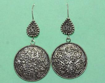 925 Sterling Silver Tribal Ethnic Earrings Round Drop Earrings Oxidised Earrings