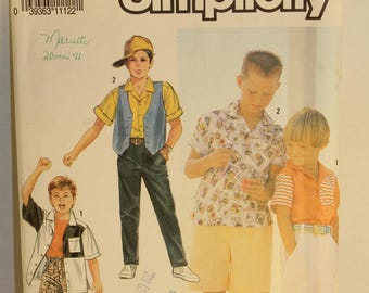 Simplicity 7194. 1991 sewing pattern,boys, childrens, pants, shorts, shirt, vest, size 2-6X