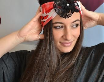 Red Romantic Headband Black Lace Turban Jersey And Lace Headband Flower Bandana - Handmade