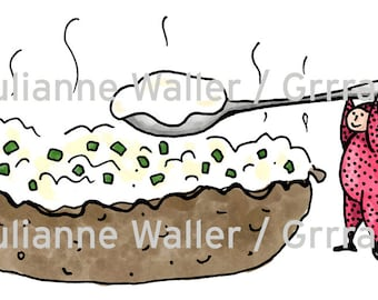 People with Food: Baked Potato digital printable clipart