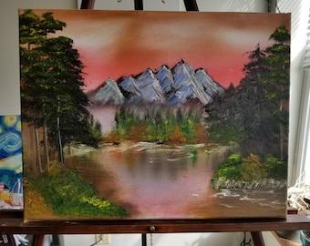 Original mountain landscape oil painting