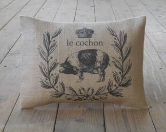 Le cochon Pig Pillow, Shabby Chic, Pigs, Farmhouse Pillows,Farm60, INSERT INCLUDED