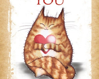 I love You. Now Go Make My Dinner. Cute cat greetings card