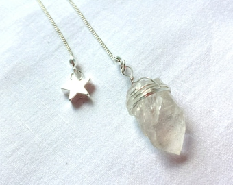 Clear Quartz and Star Charm Necklace