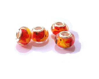 Set of 4 red floral print beads, yellow, orange, shiny, resin, 14 mm.