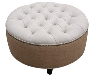 "30"" Upholstered. Tufted. Linen and Burlap. Round Ottoman- Pouf- Coffee Table Ottoman~ Design 59"