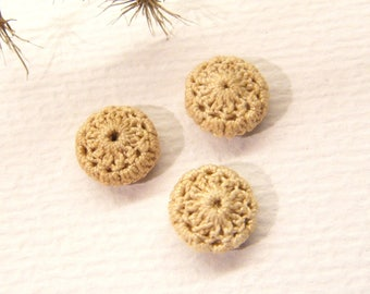 """Antique Buttons, Set of 3, Crochet FLOWERS, 3/8"""" ANIMAL Charity Donation"""